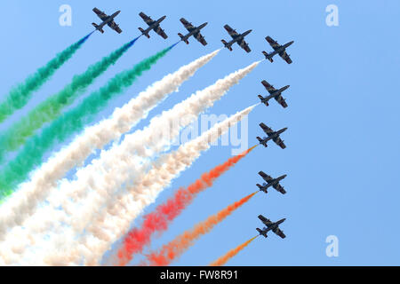 Italian Air Force aerobatic team Frecce Tricolori performing at Izmir Air Show in Turkey, during the 100th Anniversary - Stock Photo