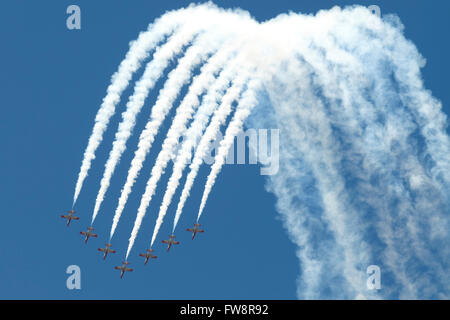 A formation of Spanish Air Force C101 of the Patrulla Aguila performing at the Izmir Air Show in Turkey, during - Stock Photo