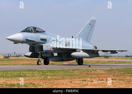 A German Air Force (Luftwaffe) Eurofighter EF-2000 Typhoon taxiing at Izmir Air Station, Turkey, during the 100th - Stock Photo
