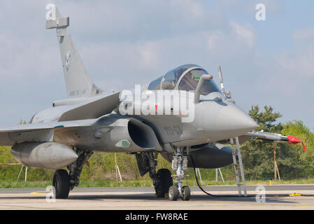 A French Air Force Rafale jet during Exercise Green Shield 2014 at Nancy Air Base, France. - Stock Photo