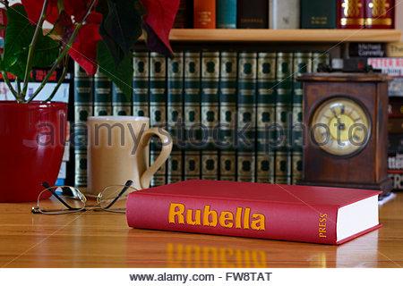 Rubella book title on desk, England - Stock Photo