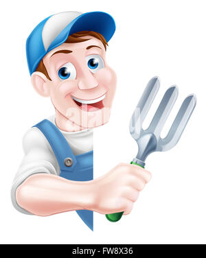 A cartoon gardener in a cap and blue dungarees holding a garden fork tool peeking around a sign - Stock Photo