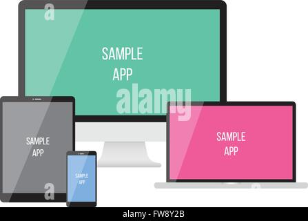 Electronic devices on white background. Vector illustration. smartphones, tablets, computer monitor, netbook. can - Stock Photo
