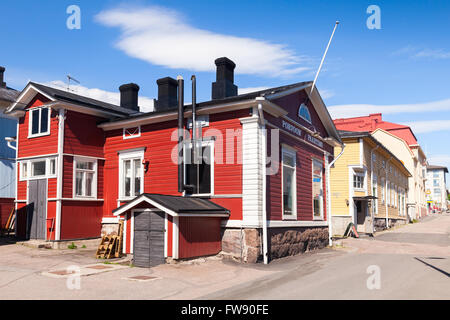 Porvoo, Finland - June 12, 2015: Street view with old red wooden house Porvoo Roastery in small historical Finnish - Stock Photo