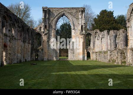 the now ruined 13th century Cistercian Netley Abbey - Stock Photo