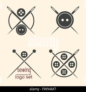 Set of sewing logotypes on beige background - Stock Photo