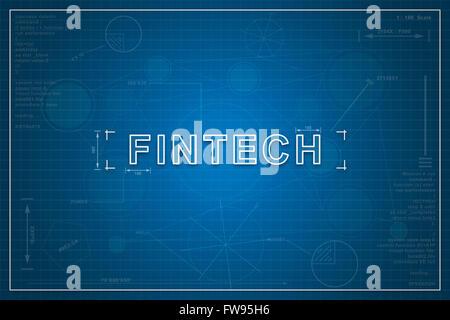 fintech on paper blueprint background, business concept - Stock Photo