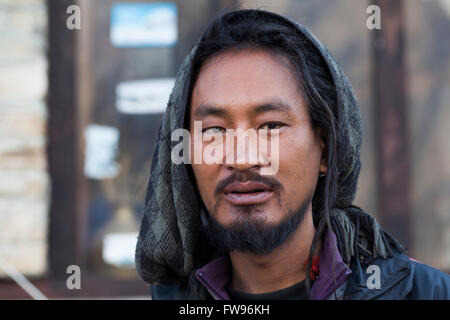 A portrait of an unidentified Nepalese man photographed near Annapurna mountain in - Stock Photo