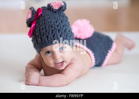 happy baby child in costume a rabbit bunny - Stock Photo