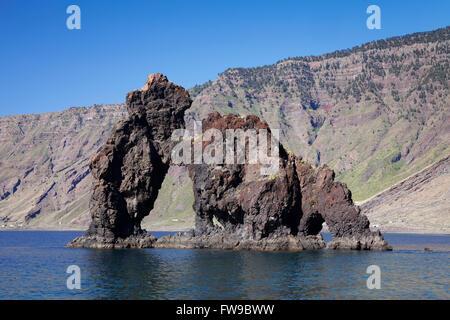 Las Playas Bay with the rock arch Roque de Bonanza, El Hierro, Canary Islands, Spain - Stock Photo