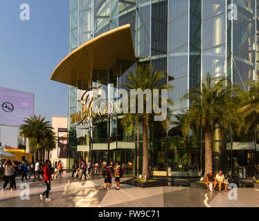 Siam Paragon Mall, glass facade, Rama I Road, Bangkok, Thailand - Stock Photo