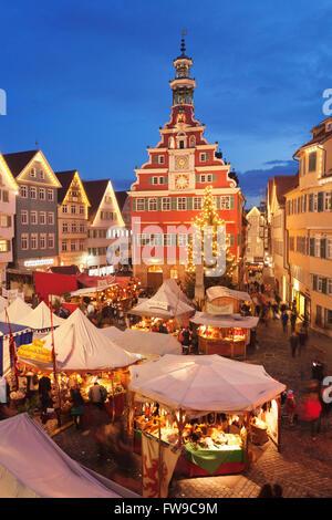 Illuminated Christmas market in front of the old city hall, Esslingen am Neckar, Baden-Württemberg, Germany - Stock Photo