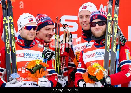 Nove Mesto na Morave, Czech Republic - January 24, 2016: FIS Cross Country World Cup, Men 4 x 7.5km relay classic/free. - Stock Photo