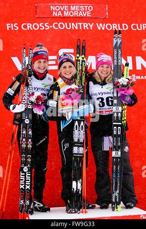 Nove Mesto na Morave, Czech Republic - January 23, 2016: FIS Cross Country World Cup, women 10km winners. JOHAUG - Stock Photo