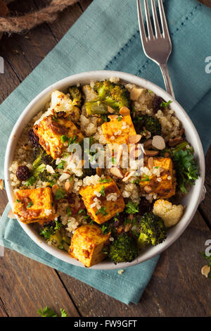 Homemade Quinoa Tofu Bowl with Roasted Veggies and Herbs - Stock Photo
