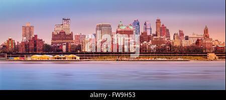 Brooklyn skyline panorama under a sunset light. - Stock Photo