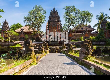 Pura Saraswati Temple with beatiful lotus pond, Ubud, Bali, Indonesia - Stock Photo
