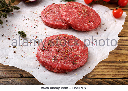 close up Raw meat. burger steak rustic background - Stock Photo