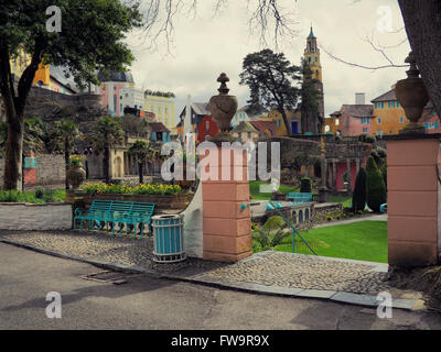 Photograph of the famous village of Portmeirion, near Porthmadog in Gwynedd, North Wales. - Stock Photo