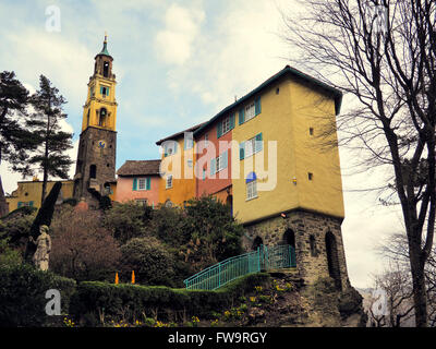 Photograph showing some of the buildings of the famous village of Portmeirion in North Wales. - Stock Photo