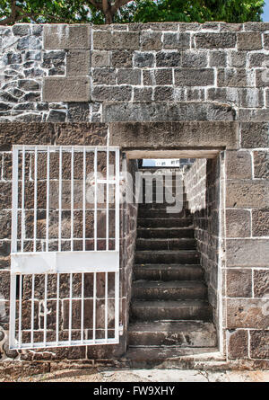 Steps of Aapravasi Ghat (the immigration depot) in Port Louis, the capital of Mauritius. - Stock Photo