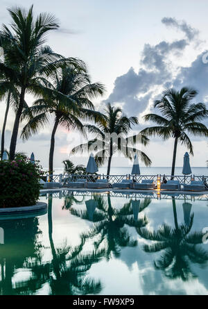 Palm trees and the swimming pool at the Maritim Hotel in Mauritius. - Stock Photo