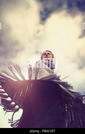 woman dancing in nature - Stock Photo