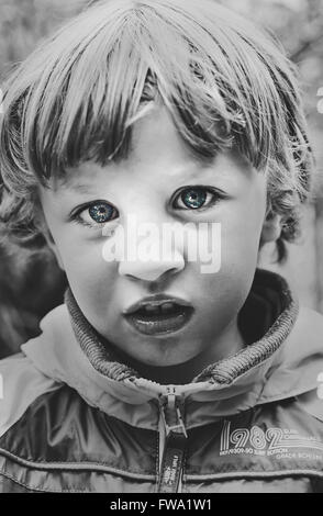 close up portrait of the boy - Stock Photo