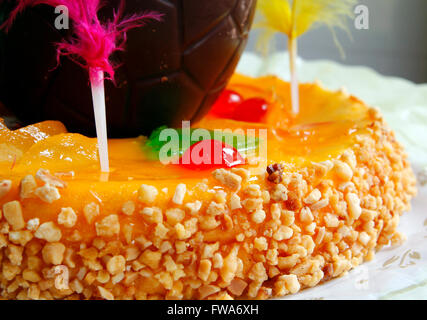 Traditional easter cake with almonds and fruit - Stock Photo
