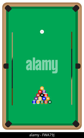 Pool Table With Balls And Cue. Pool Billiards And Pool Balls, Billiard Table  And