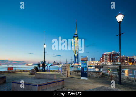 Night falls in Portsmouth Harbour, UK. - Stock Photo