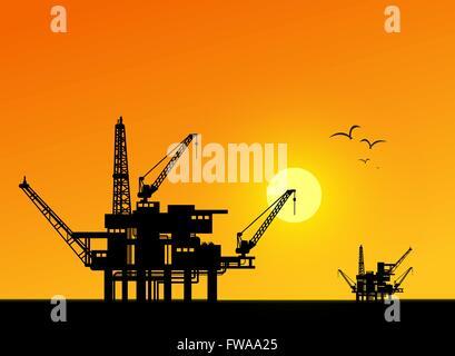 Oil derrick in sea for industrial design. - Stock Photo