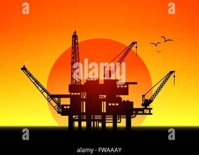 Illustration of oil platform on sea and sunset in background, vector - Stock Photo