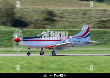 Croatian Air Force formation aerobatic display team 'Wings of Storm' flying their Pilatus PC-9M training aircraft. - Stock Photo