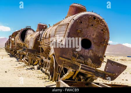 Rusty old steam train in the Train Cemetery, Bolivia - Stock Photo