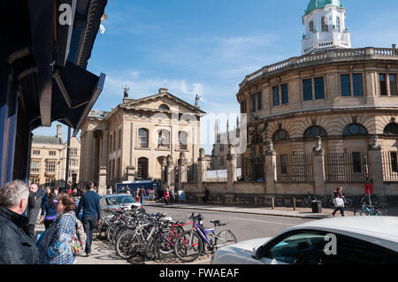 View of the Broad Street and the Bodleian Library (Clarendon Building), Oxford, United Kingdom - Stock Photo