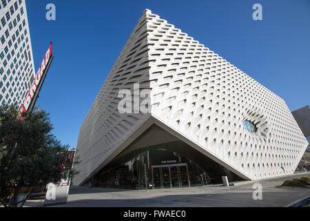 Exterior view of The Broad art museum in Los Angeles. - Stock Photo