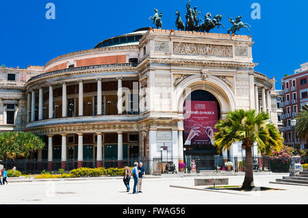 Politeama Theatre. Palermo, Sicily, Italy. - Stock Photo