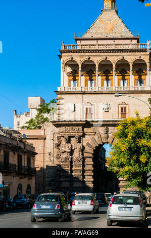 The New Gate - Porta Nuova-, adjacent to the Palace of the Normans - Palazzo dei Normanni -, Palermo. Sicily, Italy. - Stock Photo