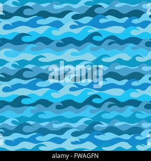 Seamless pattern made from sea waves - Stock Photo