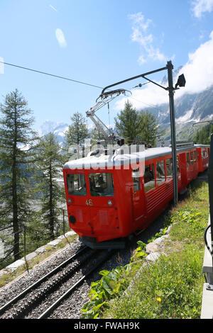 Montenvers railway which runs from Chamonix to the Mer de Glace glacier, Montenvers, Chamonix, Haute-Savoie, France. - Stock Photo
