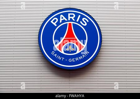 PSG logo on the wall of Parc des Princes in Paris, France - Stock Photo