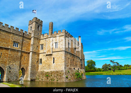 Leeds Castle in the island on the lake in Kent in England. The castle was built in the twelfth century as a king - Stock Photo