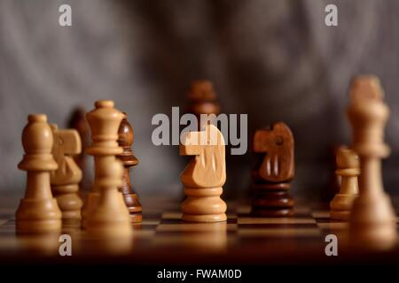Wooden chess pieces on board. Chessmen on board during play, with focus on white knight and bokeh - Stock Photo