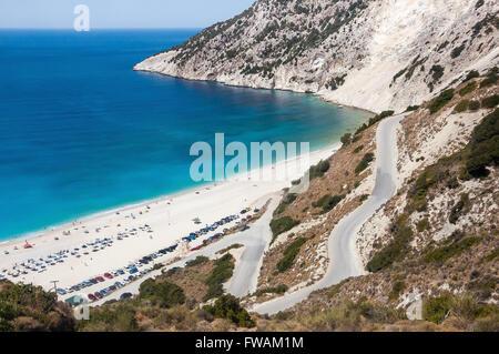 Winding road to Myrtos beach on Kefalonia Island, Greece - Stock Photo