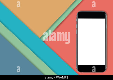 Black smart phone with blank screen to add design or copy. Colorful material design in the background - Stock Photo