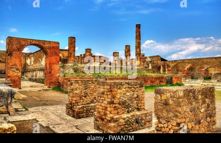 Temple of Jupiter in Pompeii - Italy - Stock Photo