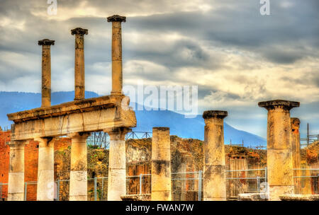 Ancient ruins of the Forum in Pompeii - Stock Photo