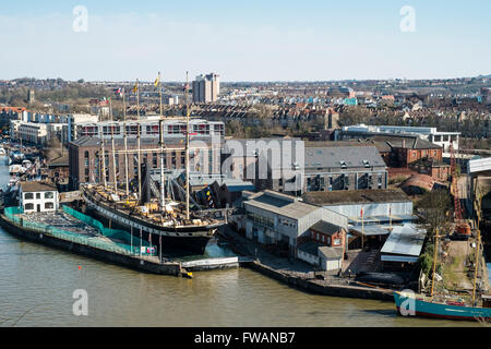 Brunel's Steamship the SS Great Britain beside the floating harbour Bristol England UK - Stock Photo