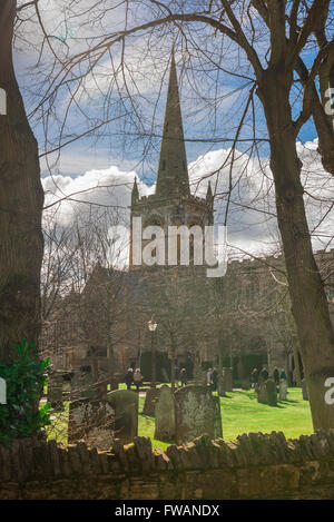 Holy Trinity Church, site of Shakespeare's tomb, in Stratford Upon Avon, England. - Stock Photo